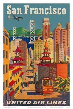 San Francisco | Vintage travel poster of America #Travel #Posters #Vintage #Retro #Affiches #deFharo #America #USA