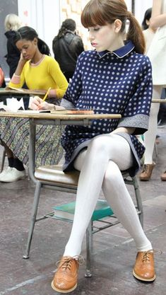 Lauren Moffatt Fall 2012 Collection - #Collection #fall #Lauren #Moffatt #tights Fashion Tights, Tights Outfit, Sweater Outfits, Simple Fall Outfits, Casual Outfits, Cute Outfits, White Tights, Sheer Tights, Wool Tights