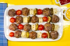Frugal Food Items - How To Prepare Dinner And Luxuriate In Delightful Meals Without Having Shelling Out A Fortune Cheeseburger Meatball Kabobs Recipe - Kraft Recipes Kraft Foods, Kraft Recipes, Meatball Recipes, Beef Recipes, Cooking Recipes, Grill Recipes, Supper Recipes, Easy Recipes, Pickled Cherries
