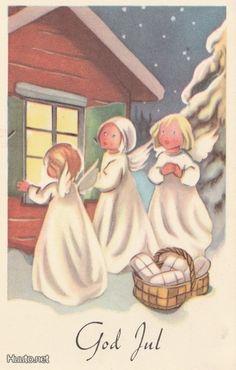 Olavi Vikainen Merry Christmas And Happy New Year, Christmas Elf, Christmas Cards, Norwegian Christmas, Scandinavian Christmas, Santa Lucia, Love Illustration, Vintage Postcards, Childrens Books