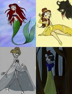 Burtonized Disney Princess Series by Silver Tallest i googled zombie disney princesses, and this was there. first thing i said was that looks tim burton-ey now i find it on pinterest.