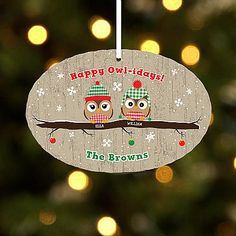 """Gift Idea For Kids  Happy Owl-idays Oval Ornament  A Personal Creations Exclusive! """"Whoo"""" knew the perfect perch for this festive family is on a branch of your Christmas tree #Christmas #Christmas2016 #Xmas #ILoveXmas  #XmasIsComming #Xmaslet #Recipes #ChristmasDecoration #Christmastree #Christmassong #Gifts #ChristmasGifts  #ChristmasCountdown"""