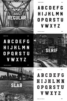 Hudson NY Regular, Serif, and Slab – rustic display fonts with a strong and bold look
