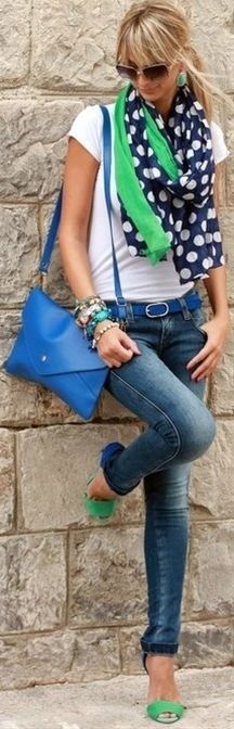 Jeans white t shirt and colorful scarf