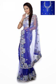 Blue color handwork bridal saree – Panache Haute Couture