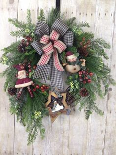 Christmas Wreath, Christmas Wreath for Front Door, Primitive Wreath, Door Wreath, Holiday Wreath, Rustic Wreath, Christmas Country Wreath by spratsdesign on Etsy #ChristmasWreath #Christmasdoorwreaths #christmasfrontdoorwreath #Christmasdecorating #PrimitiveChristmas #countrychristmas #farmhousedecorchristmas #holidaywreath