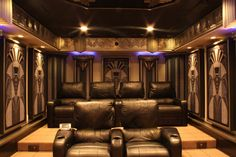 Home Theater Lifestyles, designed, manufactured and installed this truly unique, one of a kind Art Deco theater in New Jersey. Inspired from New York architecture, this basement home theater is truly Deco to the era for New York. At Home Movie Theater, Home Theater Rooms, Home Theater Seating, Home Theater Design, Cinema Room, Art Deco Decor, Art Deco Home, Art Deco Design, Wall Decor