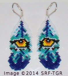 Brick Stitch Wolf / Wolf Eye in Feather Seed Beading Beaded Dangle Earrings Ships Free!
