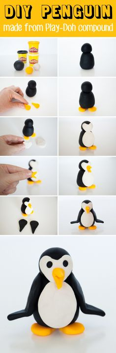 How to make a cute DIY penguin using the Play-Doh Super Color Pack. This is a great holiday gift and stocking stuffer for the kids! #ad