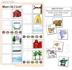 Where Do I Live? file folder game, learning game, preschool, animals, matching, animal clip art, cute, kids game
