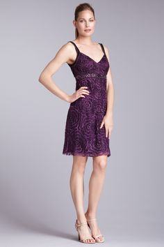 Sue Wong  Embroidered Floral Sheath Dress  $155.00