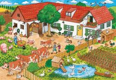 TOUCH this image: Op de boerderij. by Randy Boon Picture Writing Prompts, Illustration Story, Hidden Pictures, Right Brain, Picture Description, Pictogram, Farm Animals, Activities, Drawings