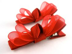 Red Organza Hair Clips Valentines Day Barrettes Baby by PoppyBows, $5.00