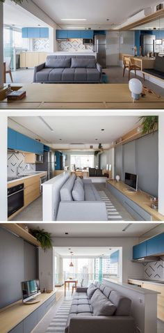 This small apartment has a wall of mirrors to make the space feel larger, a pony wall that separates the kitchen from the living room, an a small dining area with a built-in bench. #SmallApartment #ApartmentLayout #InteriorDesign
