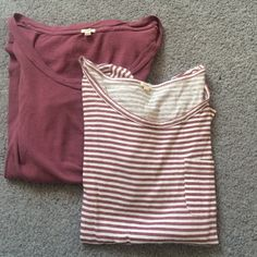 Two mauve long sleeve jcrew shirts Two mauve long sleeve jcrew shirts, one stripped one plain, size small. Gently worn. Very soft J. Crew Tops Tees - Long Sleeve