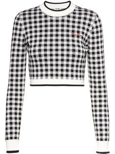Black/white wool gingham-check cropped sweater from MIU MIU featuring gingham check pattern, round neck, elasticated cuffs, cropped, elasticated hem and embroidered logo to the front. Cropped Pullover, Cropped Sweater, Miu Miu, Stage Outfits, Fashion Outfits, Black Sweaters, Sweaters For Women, Crop Top Jacket, Casual Day Dresses
