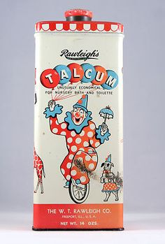 Vintage Rawleigh's Baby Powder Talcum Tin with a clown and great circus art - bidding starts at $19.99