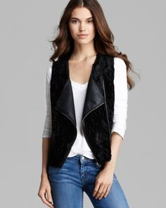 C&C California Vest - Reversible Faux Fur Moto | Bloomingdale's