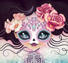 Camila Huesitos - Sugar Skull Duvet Cover by Sandra Vargas - Queen: x Sugar Skull Girl, Sugar Skull Makeup, Sugar Skulls, Candy Skulls, Sugar Skull Artwork, Skull Pillow, Arte Fashion, Day Of The Dead Art, Sugar Skull Tattoos