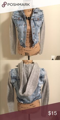 Jean jacket Jean jacket with sweater sleeves and hood. Hood is detachable. Unknown Jackets & Coats Jean Jackets
