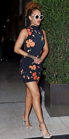 What to Wear to the Club? Get 17 Outfit Ideas from Rihanna - Ladylike Florals + Retro Frames  - from InStyle.com