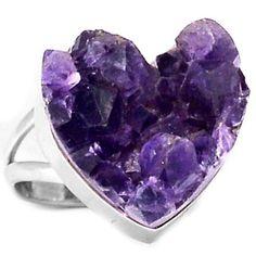 SIZE 10 Valentine Gift HEART AMETHYST DRUZY 925 STERLING RING JEWELRY 8.3g #HeartTheme