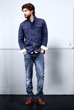 Zestaw w klasycznym stylu Blue Fashion, Bomber Jacket, Menswear, Jackets, Clothes, Natural, Lee Jeans, Man Style, Men