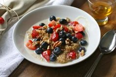 Hearty and healthy quinoa with blueberries and nuts for breakfast!