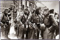 Ill-clothed and harried German soldiers on the outskirts of Moscow in December 1941.