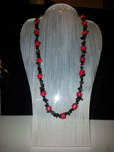 Obsidian chips & red coral disc necklace by therealmgemsdesign,   £50.96