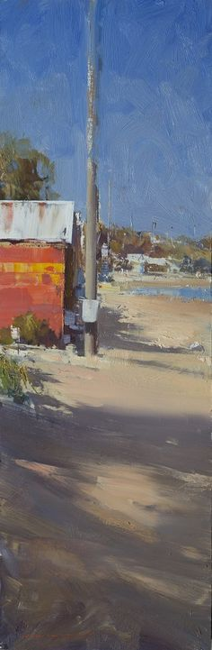 Ken Knight, Brighton Beach, oil on board, 82x27cm, $5800 (1162)