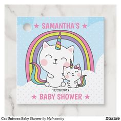 Cat Unicorn Baby Shower Favor Tags #favor #tags #favortags #thankyoutags #ad #cat #unicorn #babyshower