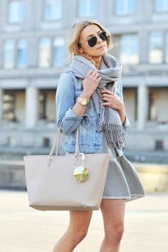 light denim jacket, grey scarf, grey skirt, and nude tote -- cute girly/casual mix