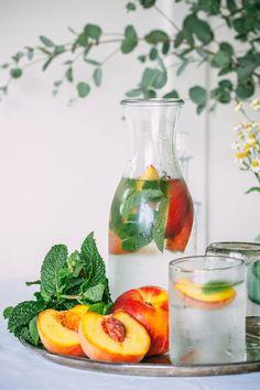 Frozen Peaches + Mint flavored water @Luvoinc