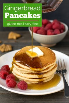 These gluten free gingerbread pancakes are delicious for a holiday breakfast! This healthy recipe will get everyone in the holiday spirit. #glutenfree #gingerbreadpancakes