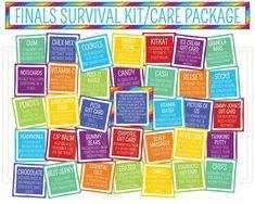 Finals Survival Kit or Care Package Printables - Final Exams Care Package - Final Exams Survival Kit - College Care Package Student Survival Kits, Survival Kit Gifts, Survival Supplies, Survival Tips, Wilderness Survival, Survival Skills, Teacher Survival, Survival Food, Outdoor Survival