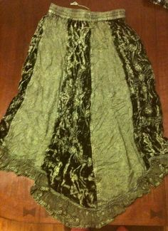 Women's Long Green Viscose Skirt / Top To Match Free Size Elastic Drawstring New! on eBay