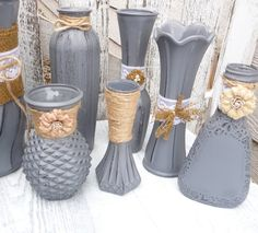 Burlap and Lace Grey RUSTIC SHABBY CHIC Vase set by SoFrickinCute, $99.00