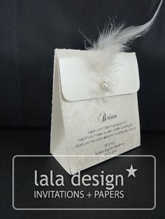 Silver flourish with feather lolly bag