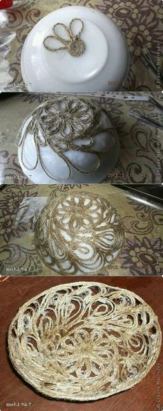 Make the best use of your creativity with these brilliant craft projects. Immediately try this Easy DIY Holiday Crafts! Twine Crafts, Yarn Crafts, Diy And Crafts, Arts And Crafts, Craft Projects, Projects To Try, Rope Art, Diy Décoration, Sisal