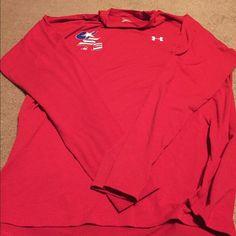 Men's Under Armour heat gear long sleeve Tshirt Used, men's under Armour heat gear Dri fit US long sleeve Tshirt-red Under Armour Tops Tees - Long Sleeve