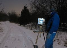 Extreme Painting - Part III: Painting the Winter Night en Plein Air - ArtistDaily. John Hulsey plein air painting. Brrrrr!