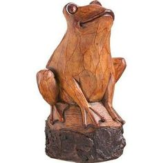 Forest Friend Wood Carved Frog Statue ...