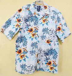 Hawaiian Hibiscus Palm Trees Camp Shirt M Party Cruise Comfy Shorts Jeans Kirra Hawaiian Wear, Mens Hawaiian Shirts, Shorts Jeans, Comfy Shorts, Tree Camping, Top Rated, Floral Tops, Men Casual, Orange Yellow