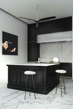 modern, transitional kitchenwood paneling kitchendark kitchen cabinetsmarble floorsmarble backsplash
