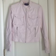 Light Pink Leather Jacket! NWOT light pink faux leather jacket from forever21! Silver zipper and button accents! Forever 21 Jackets & Coats