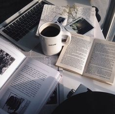being surrounded by coffee, books and the computer....