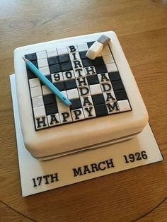 Crossword cake for birthday. 2019 Crossword cake for birthday. The post Crossword cake for birthday. 2019 appeared first on Birthday ideas. Birthday Cakes For Men, Birthday Party Decorations For Adults, 90th Birthday Parties, Birthday Cake Decorating, 80th Birthday Cake For Grandma, Birthday Ideas, Men Birthday, Birthday Images, Birthday Cupcakes