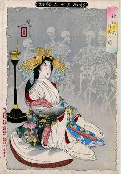 ■木版画 レプリカ 幽霊画:y014 月岡芳年 妖怪・骸骨 - ヤフオク!