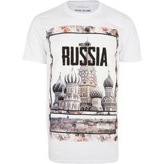 River Island White Russia front print t-shirt (38.090 COP) ❤ liked on Polyvore featuring mens, men's clothing, men's shirts, men's t-shirts and sale